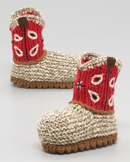 Art Walk Crocheted Cowboy Boot, Red