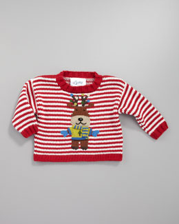 Art Walk Reindeer Striped Holiday Sweater