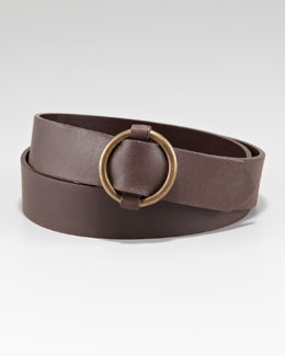 Oscar de la Renta Circular Buckle Belt, Brown