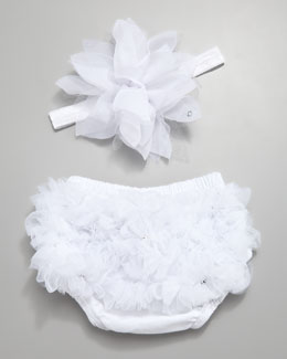 Bari Lynn Ruffled Diaper Cover & Headband Set