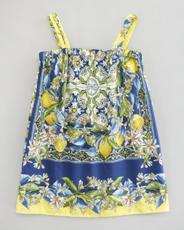 Dolce & Gabbana Floral-Lemon Print Poplin Dress, Sizes 4-6