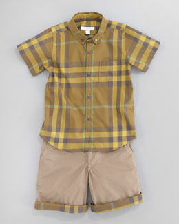 Burberry Short-Sleeve Check Shirt