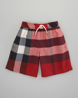 Burberry Mini Check Swim Shorts, Military Red