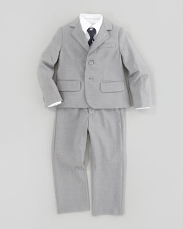 Armani Junior Heather-Gabardine Suit, Gray