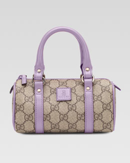Gucci Girls' Leather-Trim GG Plus Fabric Bag, Beige Ebony/Glicine
