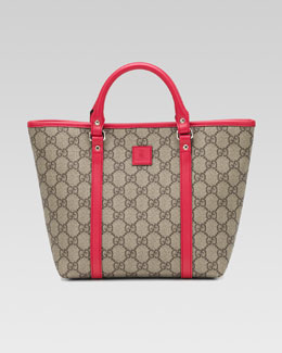 Gucci Girls' GG Plus Leather-Trim Fabric Tote Bag, Beige Ebony/Watermelon