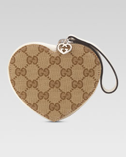 Gucci Girls' Micro Guccissima Heart Wristlet, Beige Ebony/White
