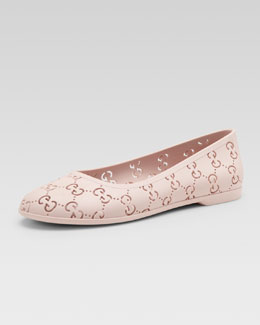 Gucci GG Rubber Ballet Flat, Powder Pink, Youth