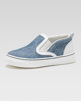 Gucci Board GG Denim Slip-On Sneaker, Toddler