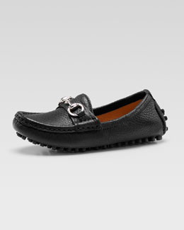 Gucci Damo Leather Driving Loafer, Black, Youth