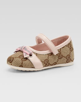 Gucci Marilyn GG Canvas Mary Jane Ballerina, Beige Ebony/Pink, Toddler