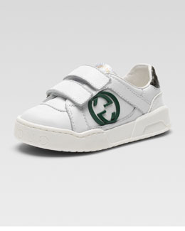 Gucci Rebound Double-Strap Sneaker, White/Green, Toddler