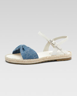 Gucci GG Denim Espadrille Sandal, Youth