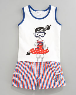 Little Marc Jacobs Tank and Swim Trunks Set