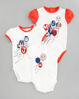 Little Marc Jacobs Baby's 1st Year Bodysuit Gift Set, Ecru Red