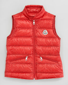 Moncler Gui Long Season Packable Quilted Vest, Sizes 8-10