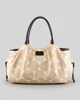 kate spade new york stevie dot-print large diaper bag, beige