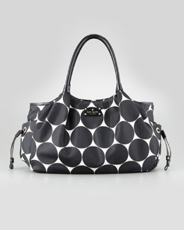 kate spade new york stevie dot-print large diaper bag, black/cream