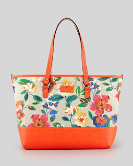 kate spade new york harmony floral-print canvas diaper bag, orange multi