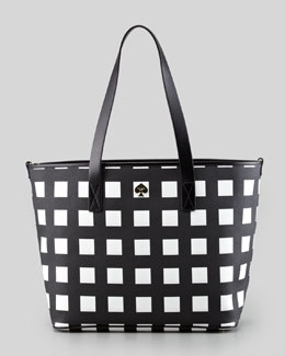 kate spade new york harmony check diaper bag, black/cream