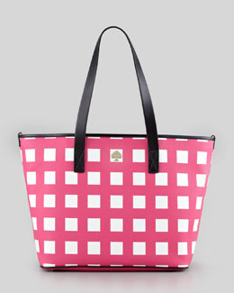 kate spade new york harmony check diaper bag, pink/cream