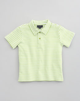 Oscar de la Renta Striped Knit Polo Shirt, Lime/White