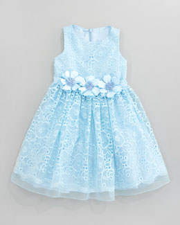David Charles Lace Overlay Flower Dress, Aqua