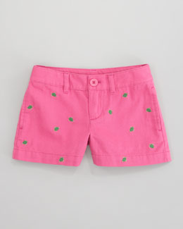 Ralph Lauren Childrenswear Embroidered Chino Short, Belmont Pink