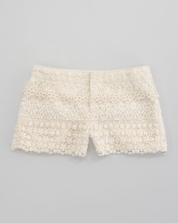 Ralph Lauren Childrenswear Tiered Crocheted Short, Chic Cream