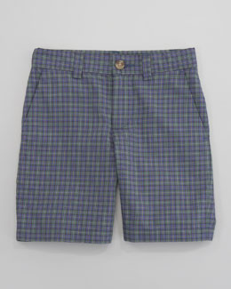 Ralph Lauren Childrenswear Preppy Madras Shorts, Navy Multi