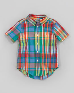 Ralph Lauren Childrenswear Green Blake Short-Sleeve Plaid Shirt, Sizes 2-7