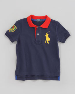 Ralph Lauren Childrenswear Navy Big Pony Contrast-Collar Polo, Sizes 2-7