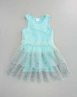 Little Marc Jacobs Embroidered Tulle Jersey Dress, Sizes 6-10