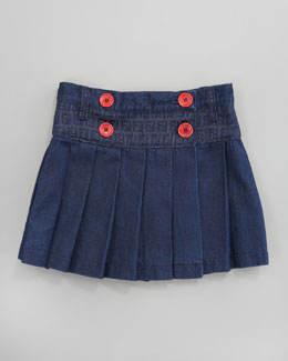 Fendi Pleated Denim Skirt, Sizes 2-5