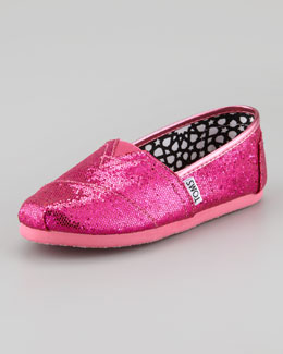 TOMS Youth Glitter Slip-On, Hot Pink