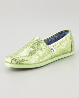 TOMS Glitter Shoe, Mint, Youth