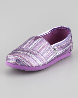 TOMS Youth Classic Glitter Striped Slip-On, Purple
