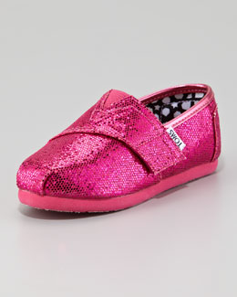 TOMS Hot Pink Glitter Shoe, Tiny