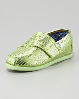 TOMS Mint Green Glitter Shoe, Tiny