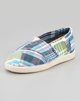 TOMS Bimini Blue Madras Boat Shoe, Tiny