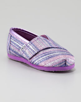 TOMS Purple Glitter Striped Slip-On, Tiny