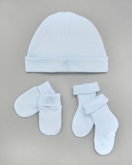 Tartine et Chocolat Hat, Bootie & Mitt Set, Light Blue