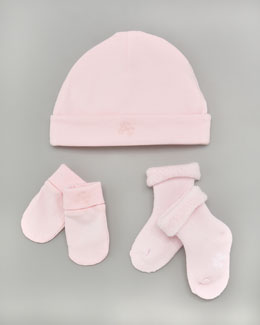 Tartine et Chocolat Hat, Bootie & Mitt Set, Rose Pale