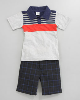 Appaman Striped Slub Polo Shirt