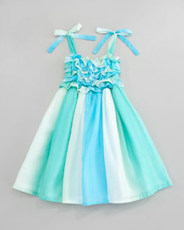 Halabaloo Watercolor Ruffled Smocked Dress, Sizes 4-6X