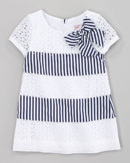 Monnalisa Eyelet and Stripe Dress, Navy White