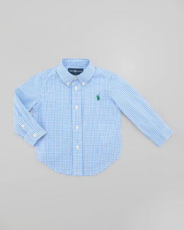 Ralph Lauren Blake Long Sleeve Gingham Shirt, Light Blue Multi