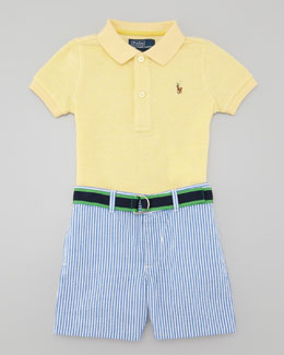 Ralph Lauren Polo Shirt & Seersucker Shorts Set, 3-9 Months