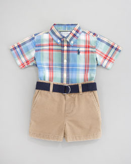 Ralph Lauren Plaid Short Sleeve Shirt & Short Set