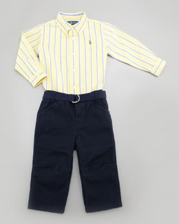 Ralph Lauren Oxford Stripe Shirt & Pants Set